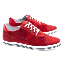 Polbut Casual men's shoes 1801P red nubuck 3