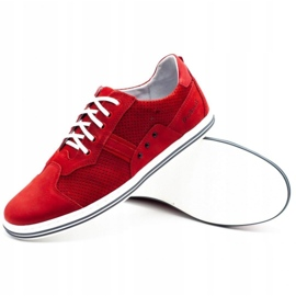 Polbut Casual men's shoes 1801P red nubuck 4