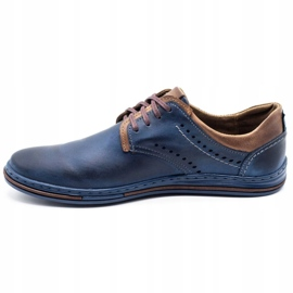 Polbut Casual men's shoes 402 navy blue with brown multicolored 1
