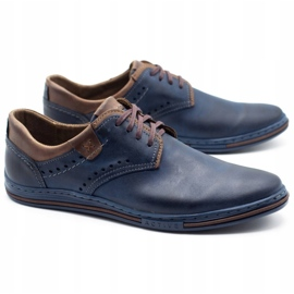 Polbut Casual men's shoes 402 navy blue with brown multicolored 2