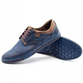 Polbut Casual men's shoes 402 navy blue with brown multicolored 3