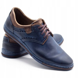 Polbut Casual men's shoes 402 navy blue with brown multicolored 4