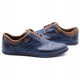 Polbut Casual men's shoes 402 navy blue with brown multicolored 5