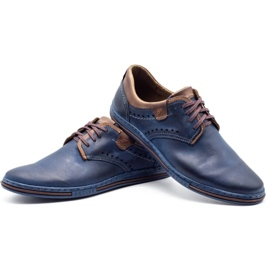 Polbut Casual men's shoes 402 navy blue with brown multicolored 6