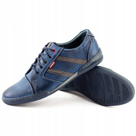 Polbut Men's casual shoes R3 Perforation Navy Blue 4