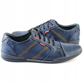 Polbut Men's casual shoes R3 Perforation Navy Blue 6
