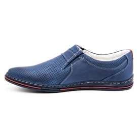 Polbut Men's leather shoes 362 with navy blue perforation 1