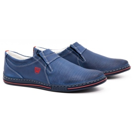Polbut Men's leather shoes 362 with navy blue perforation 2