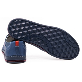 Polbut Men's leather shoes 362 with navy blue perforation 4