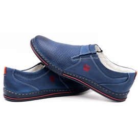Polbut Men's leather shoes 362 with navy blue perforation 5
