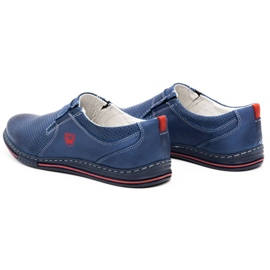 Polbut Men's leather shoes 362 with navy blue perforation 6