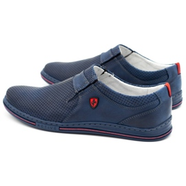 Polbut Men's leather shoes 362 with navy blue perforation 7