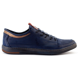 Polbut Men's casual leather shoes K22 navy blue with brown multicolored 2
