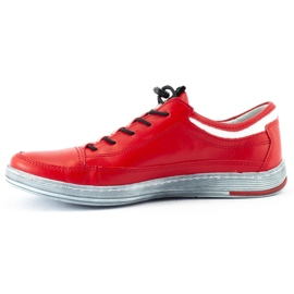 Polbut Men's leather casual shoes K22 red 2