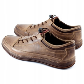 Polbut Men's leather casual shoes K22 brown 1