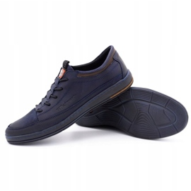 Polbut Men's casual leather shoes K22 navy blue with brown multicolored 3