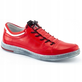 Polbut Men's leather casual shoes K22 red 3