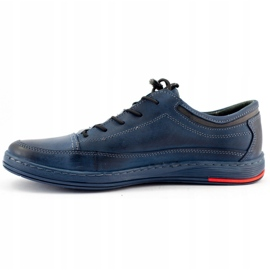 Polbut Men's leather casual K22 navy blue shoes multicolored 1