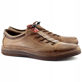 Polbut Men's leather casual shoes K22 brown 3