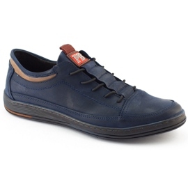 Polbut Men's casual leather shoes K22 navy blue with brown multicolored 4