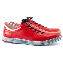 Polbut Men's leather casual shoes K22 red 4
