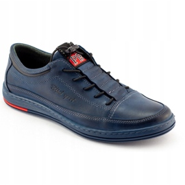 Polbut Men's leather casual K22 navy blue shoes multicolored 2