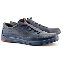 Polbut Men's leather casual K22 navy blue shoes multicolored 3