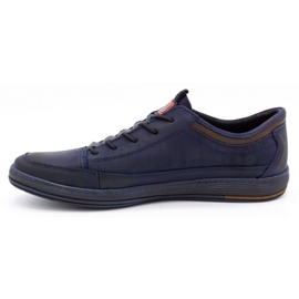 Polbut Men's casual leather shoes K22 navy blue with brown multicolored 1