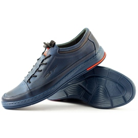 Polbut Men's leather casual K22 navy blue shoes multicolored 4