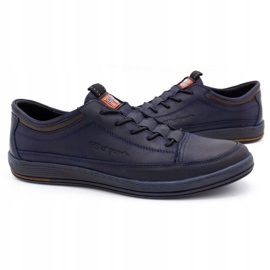 Polbut Men's casual leather shoes K22 navy blue with brown multicolored 5