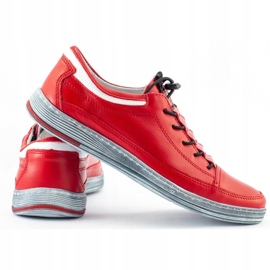 Polbut Men's leather casual shoes K22 red 6