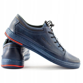Polbut Men's leather casual K22 navy blue shoes multicolored 5