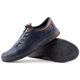 Polbut Men's casual leather shoes K22 navy blue with brown multicolored 6