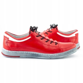 Polbut Men's leather casual shoes K22 red 7