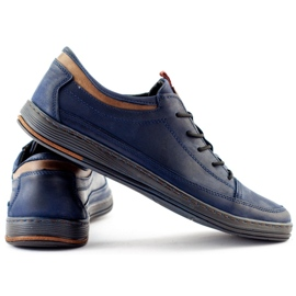 Polbut Men's casual leather shoes K22 navy blue with brown multicolored 7