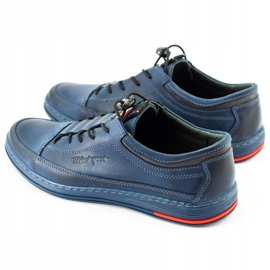 Polbut Men's leather casual K22 navy blue shoes multicolored 7