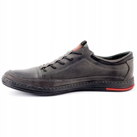 Polbut Men's leather casual shoes K22 gray grey 1