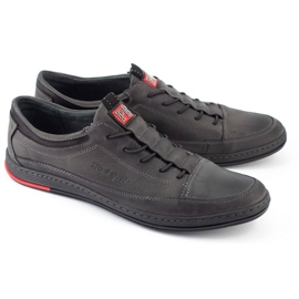 Polbut Men's leather casual shoes K22 gray grey 2