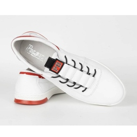 Polbut Men's leather casual shoes K23 white with red multicolored 4