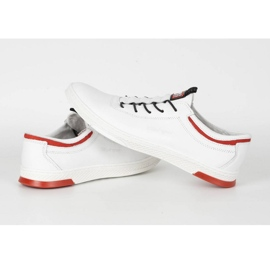 Polbut Men's leather casual shoes K23 white with red multicolored 5