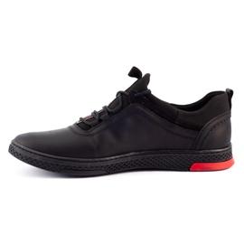 Polbut Black casual leather men's shoes K24 3