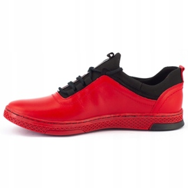 Polbut Men's leather casual shoes K24 red 7