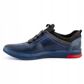 Polbut Men's casual leather K24 navy blue shoes 3