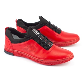 Polbut Men's leather casual shoes K24 red 1