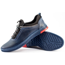 Polbut Men's casual leather K24 navy blue shoes 1