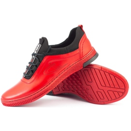 Polbut Men's leather casual shoes K24 red 2