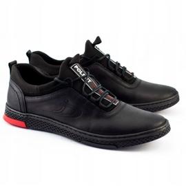Polbut Black casual leather men's shoes K24 4