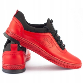 Polbut Men's leather casual shoes K24 red 3
