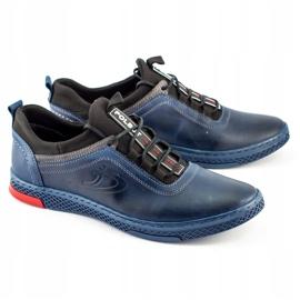 Polbut Men's casual leather K24 navy blue shoes 4