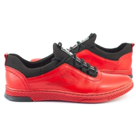 Polbut Men's leather casual shoes K24 red 4